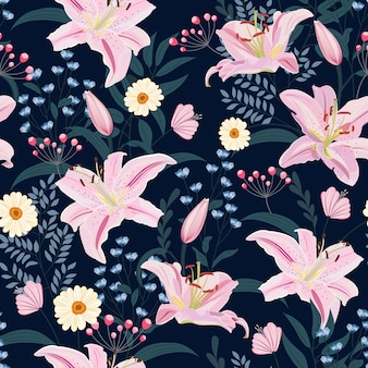 Lily flower seamless pattern on blue background with floral