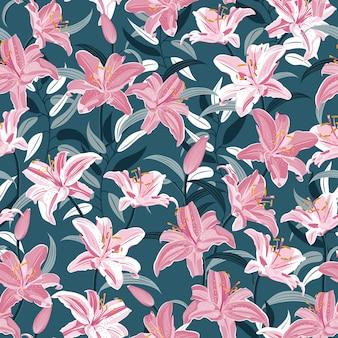 ユリの花のシームレスパターン