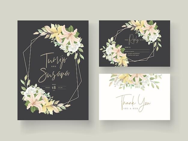 Carta di invito matrimonio fiore di giglio