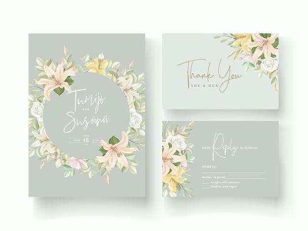 Lily flower wedding invitation card