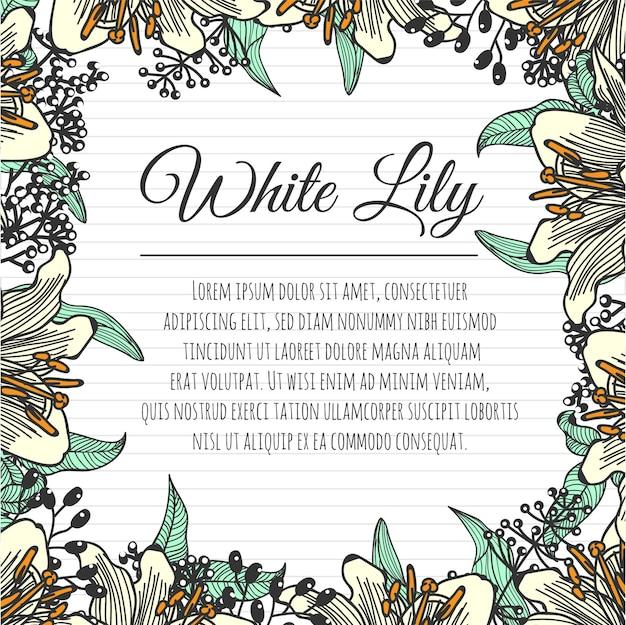 ユリ花の白い手描きの背景テンプレート