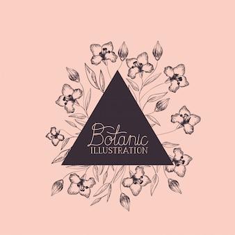 ユリの花の装飾的なトライアングルフレーム