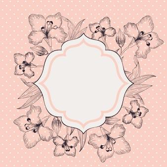 ユリの花の装飾的なビクトリア朝のフレーム
