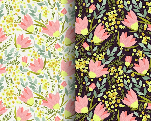 Lily flowers garden seamless pattern