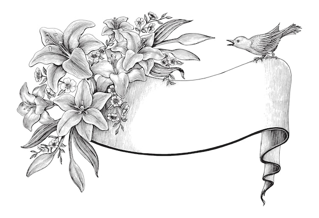 Lily flowers hand drawing vintage with ribbon and bird