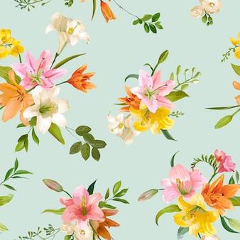 Бесшовный цветочный узор цветы лилии