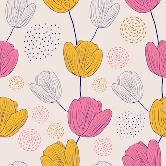 Lily flowers seamless pattern