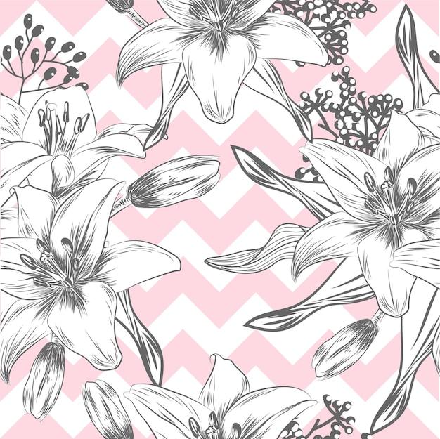バックグラウンドピンクのユリ手描きのパターン