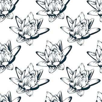 Lily hand drawn sketch pattern background vector illustration