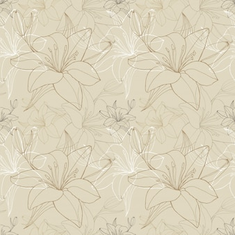 Lily line in beige color, seamless pattern