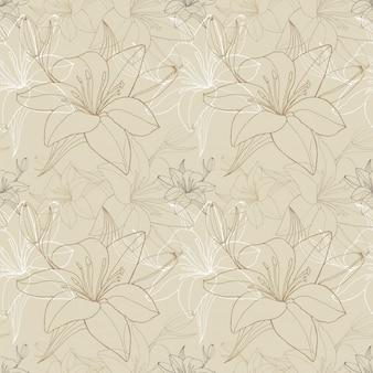 Линия лилии в бежевом цвете, бесшовный узор