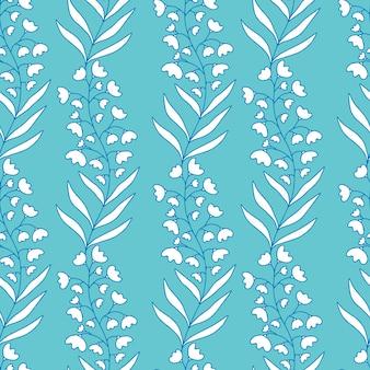 スズラン。テキスタイルデザインの青い背景に白い花のシームレスなパターン。