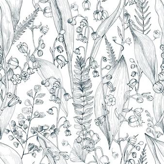 シダのアウトラインのシームレスなパターンを持つスズラン。手描きの芽、葉、茎のテクスチャ。黒と白のイラスト。