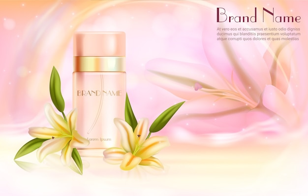 Lily perfume cosmetics. realistic aroma perfume spray bottle with lily flowers, skincare lotus perfumed fragrance, aromatic cosmetic product with natural scent background