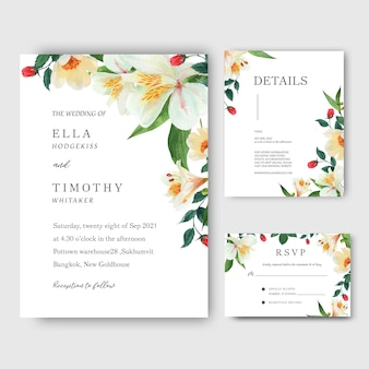 Lily, rose, magnolia flowers watercolor bouquets invitation card, save the date