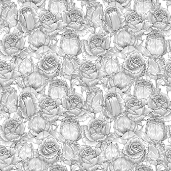 Lily and rose, monochrome seamless pattern
