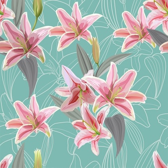 Lily seamless pattern vector illustration