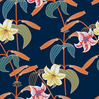Lily seamless pattern with trendy color spring