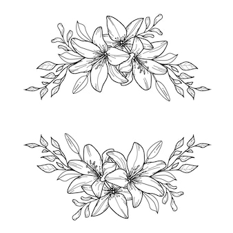 릴리 장식. 꽃 테두리. 꽃 프레임.