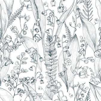 Lily of the valley with fern outline seamless pattern. hand drawn buds, leaves and stems texture. black and white  illustration.