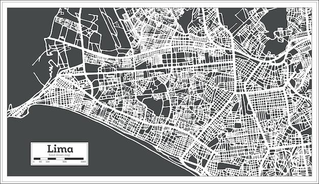 리마 페루 도시지도 복고 스타일.