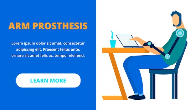 Limbs prosthesis flat vector landing page template