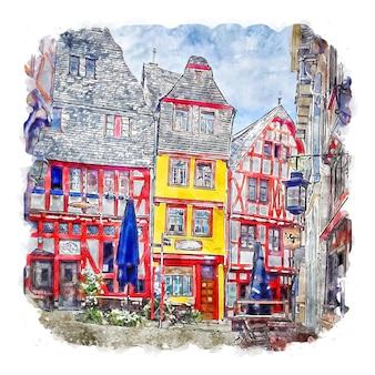 림부르크 독일 수채화 스케치 손으로 그린 그림