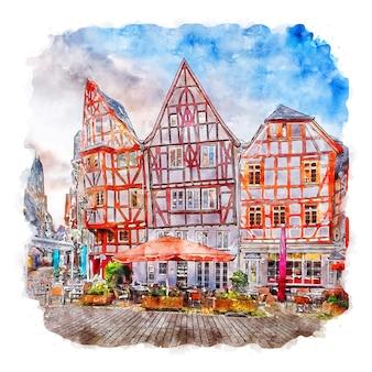 Лимбург гессен германия акварельный эскиз рисованной иллюстрации