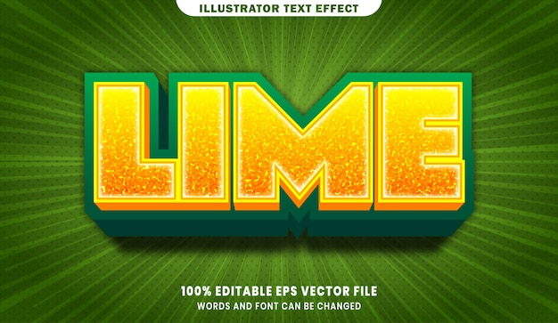 Lime 3d editable text style effect