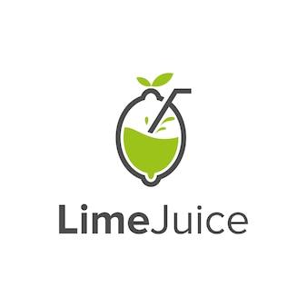 라임과 주스 단순하고 세련된 창조적 인 기하학적 현대 로고 디자인