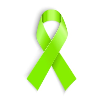 Lime awareness ribbon in white background.