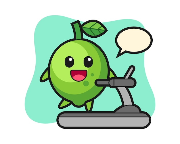 Lime cartoon character walking on the treadmill, cute style , sticker, logo element