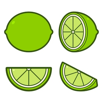 Lime cartoon icons set isolated on a white background.