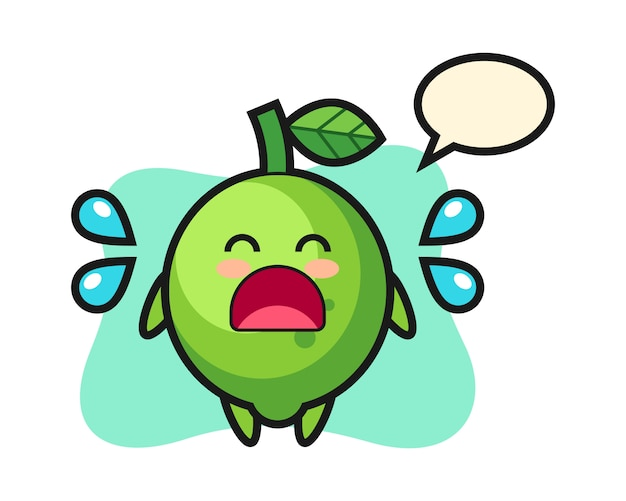 Lime cartoon illustration with crying gesture, cute style , sticker, logo element