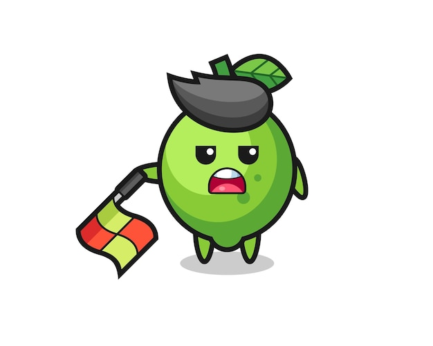 Lime character as line judge hold the flag down at a 45 degree angle , cute style design for t shirt, sticker, logo element