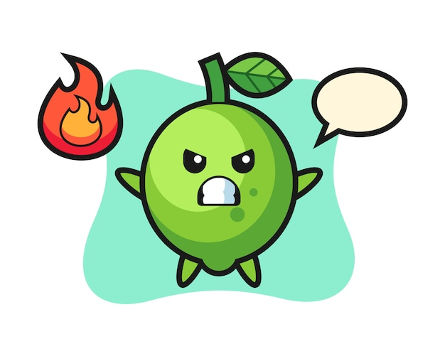 Lime character cartoon with angry gesture, cute style , sticker, logo element