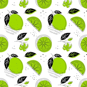 Lime, cool seamless pattern. doodle style.