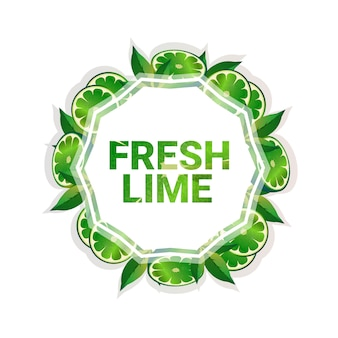 Lime fruit colorful circle copy space organic over white pattern background