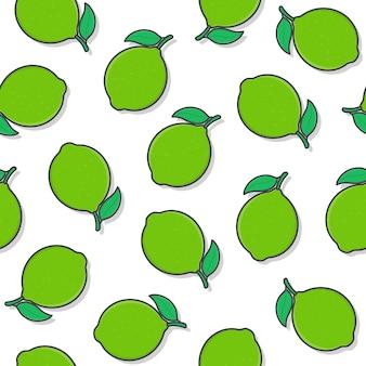 흰색 배경에 라임 과일 원활한 패턴입니다. 신선한 라임 아이콘 벡터 일러스트 레이 션