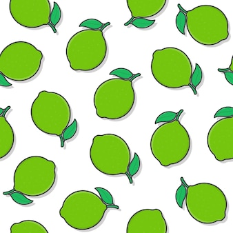 Lime fruit seamless pattern on a white background. fresh lime icon vector illustration