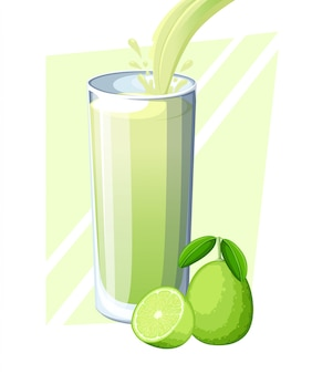 Lime juice. fresh fruit drink in glass. lime smoothies. juice flow and splash in full glass.  illustration  on white background. web site page and mobile app