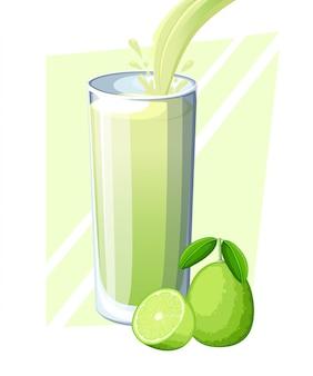 ライムジュース。ガラスの新鮮なフルーツドリンク。ライムのスムージー。ジュースの流れと完全なガラスのスプラッシュ。白い背景のイラスト。 webサイトページとモバイルアプリ