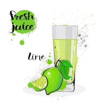 Lime juice fresh hand drawn watercolor fruits and glass on white background