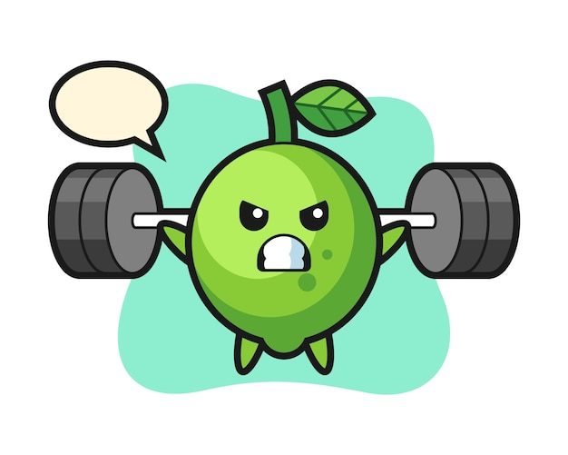 Lime mascot cartoon with a barbell, cute style , sticker, logo element