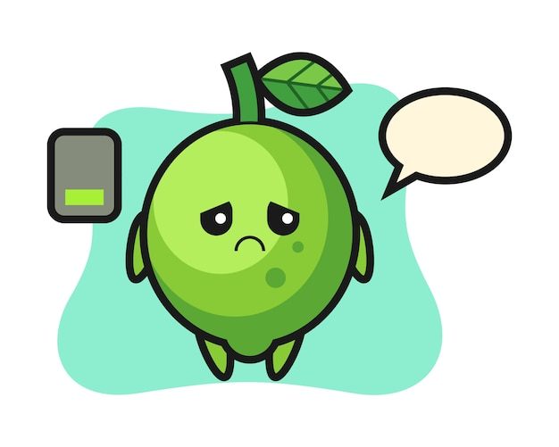 Lime mascot character doing a tired gesture, cute style , sticker, logo element