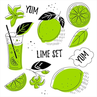 Lime set. stylish elements in the style of doodle.