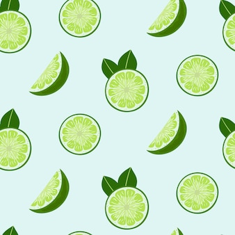 Lime slices and leaves seamless pattern.