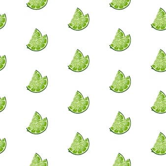 Lime slices seamless pattern on white background.