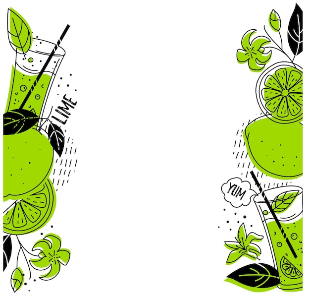 Lime template, with space for text. doodle style.