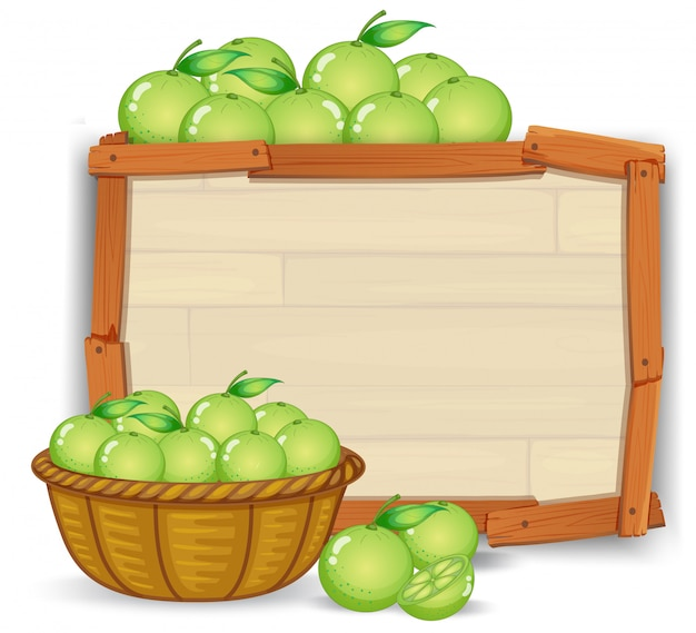 Lime on wooden banner